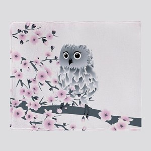 Cute Owl And Cherry Blossoms Throw Blanket