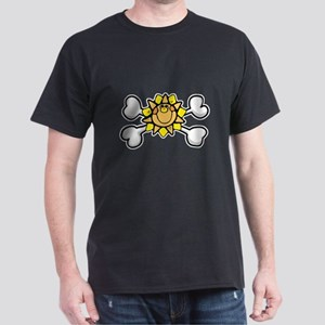 Happy Sun Crossbones Design Dark T-Shirt