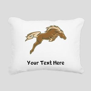 Horse Jumping (Custom) Rectangular Canvas Pillow