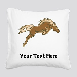 Horse Jumping (Custom) Square Canvas Pillow