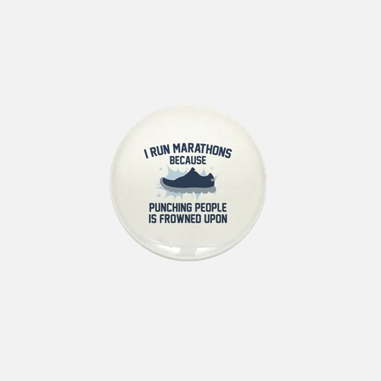 I Run Marathons Mini Button