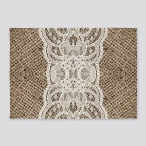 country rustic burlap lace 5'x7'Area Rug