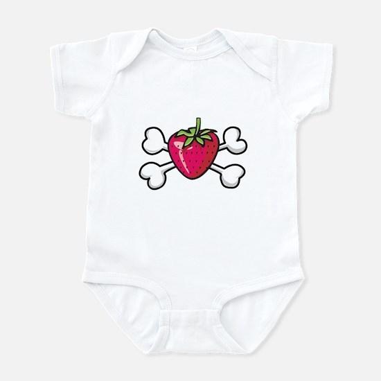 Strawberry Crossbones Design Infant Bodysuit