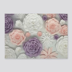 pastel purple pink floral 5'x7'Area Rug