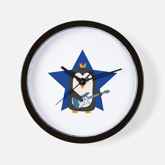 Rock Guitar Penguin Wall Clock
