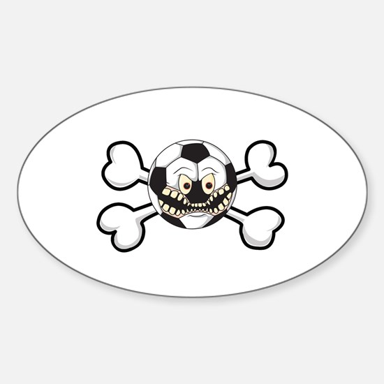 Angry Soccer Ball Crossbones Oval Decal
