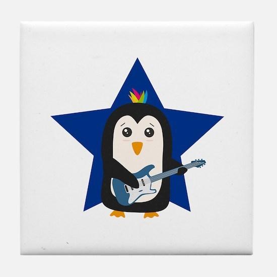 Rock Guitar Penguin Tile Coaster