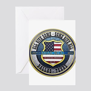 Memorial Dallas Police Thin Blue Li Greeting Cards