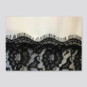 Girly Chic black lace 5'x7'Area Rug