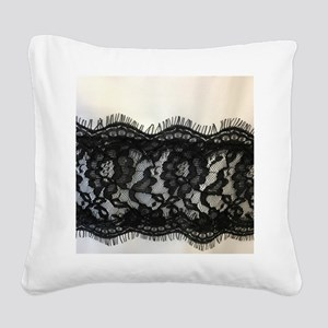 Girly Chic black lace Square Canvas Pillow