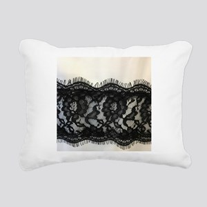 Girly Chic black lace Rectangular Canvas Pillow
