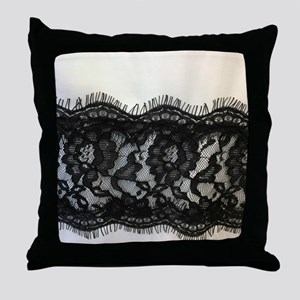 Girly Chic black lace Throw Pillow