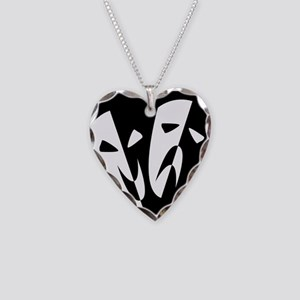 Stage Masks Necklace Heart Charm