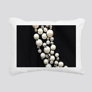 black and white pearl Rectangular Canvas Pillow