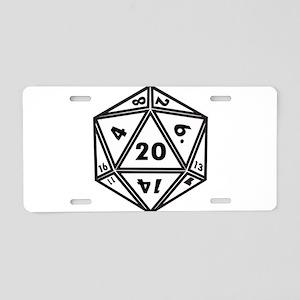 D20 White Aluminum License Plate