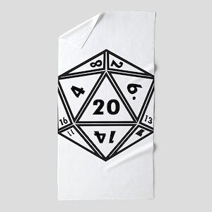 D20 White Beach Towel