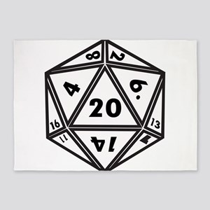 D20 White 5'x7'Area Rug