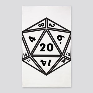 D20 White Area Rug