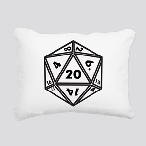 D20 White Rectangular Canvas Pillow