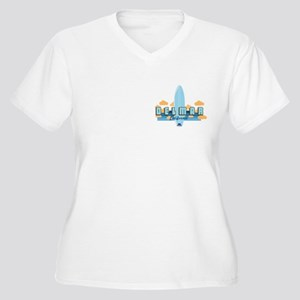 Del Mar Californi Women's Plus Size V-Neck T-Shirt