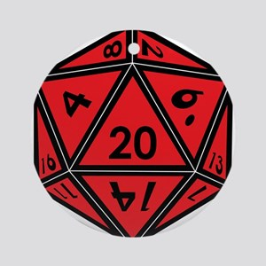 D20 Red Round Ornament