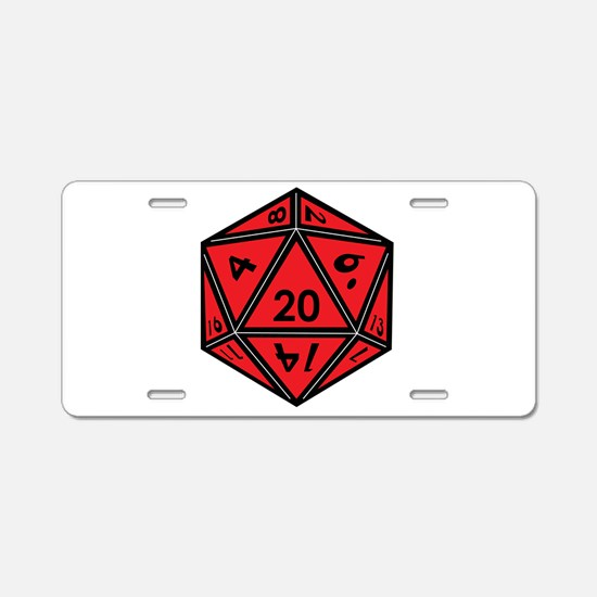 D20 Red Aluminum License Plate