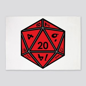 D20 Red 5'x7'Area Rug