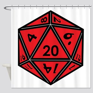 D20 Red Shower Curtain