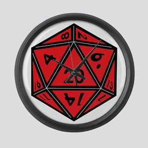 D20 Red Large Wall Clock