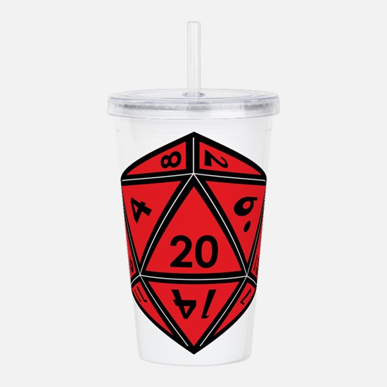 D20 Red Acrylic Double-wall Tumbler