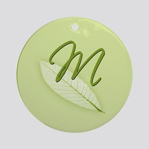 Leaves Monogram M Ornament (Round)