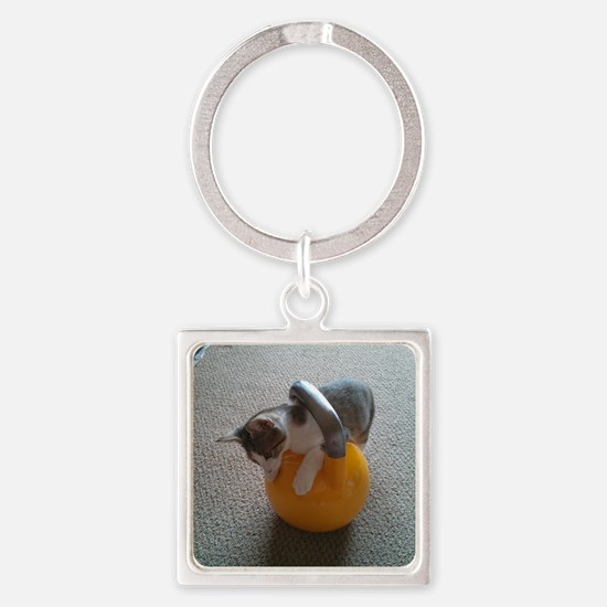 Unique Kettlebell Square Keychain