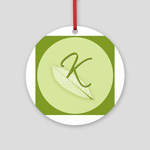 Leaves Monogram K Ornament (Round)