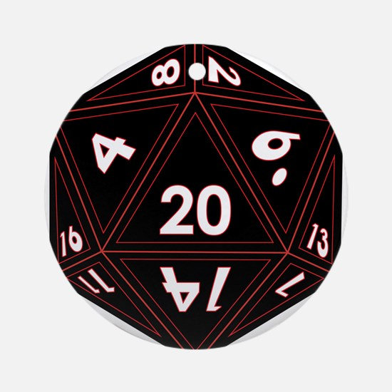 D20 Black with Red Trim Round Ornament