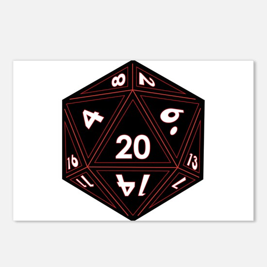 D20 Black with Red Trim Postcards (Package of 8)