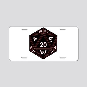D20 Black with Red Trim Aluminum License Plate