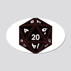 D20 Black with Red Trim Wall Decal