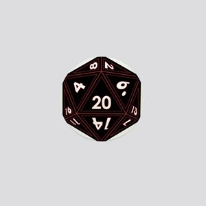 D20 Black with Red Trim Mini Button