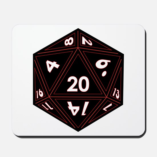 D20 Black with Red Trim Mousepad