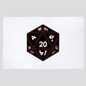 D20 Black with Red Trim 4' x 6' Rug