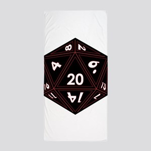 D20 Black with Red Trim Beach Towel