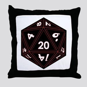 D20 Black with Red Trim Throw Pillow