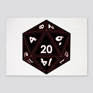 D20 Black with Red Trim 5'x7'Area Rug