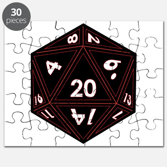 D20 Black with Red Trim Puzzle