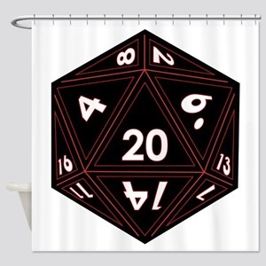 D20 Black with Red Trim Shower Curtain