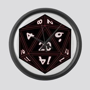 D20 Black with Red Trim Large Wall Clock