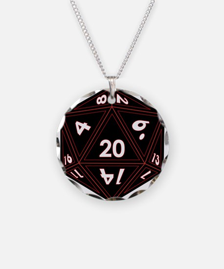 D20 Black with Red Trim Necklace