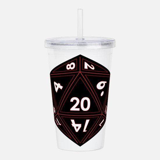 D20 Black with Red Trim Acrylic Double-wall Tumble