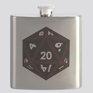 D20 Black with Red Trim Flask