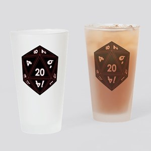 D20 Black with Red Trim Drinking Glass